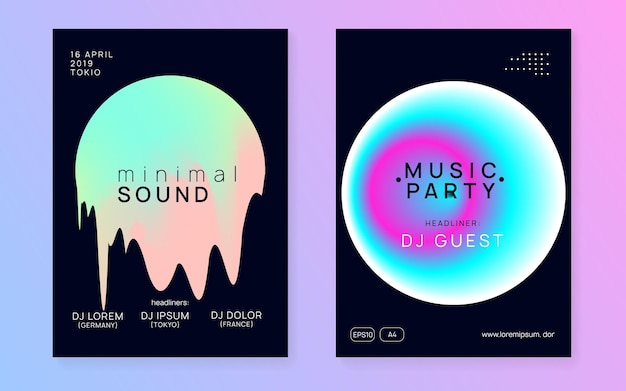 House flyer. electronic and show concept. fun trance event. dynamic pattern for brochure vector. linear glitch for set. black and turquoise house flyer