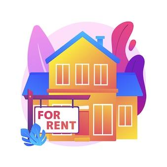 賃貸住宅の抽象的な概念図。オンラインで家を予約する、最高の賃貸物件、不動産サービス、宿泊施設マーケットプレイス、賃貸物件、月額家賃。
