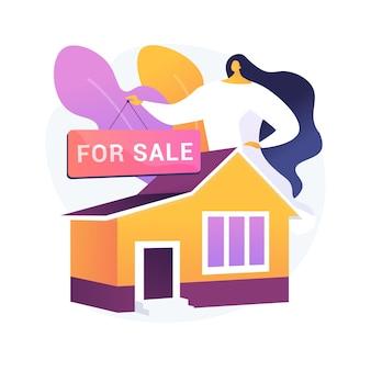 販売のための家抽象的な概念ベクトルイラスト。販売住宅のベストディール、不動産エージェントサービス、住宅および商業用不動産、住宅ローンブローカー、オークション入札の抽象的な比喩。