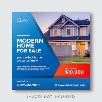 소셜 미디어 게시물에 대한 판매 및 부동산 속성 배너 하우스