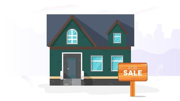 売り家。販売のためのサイン。住宅および不動産販売のコンセプト。