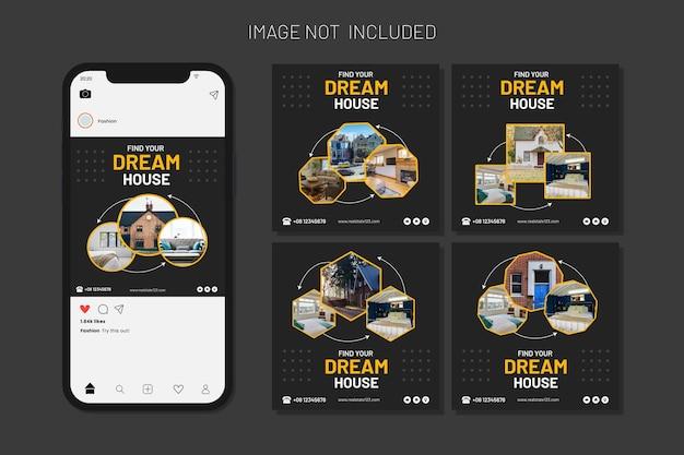 Набор шаблонов сообщений в социальных сетях house for sale