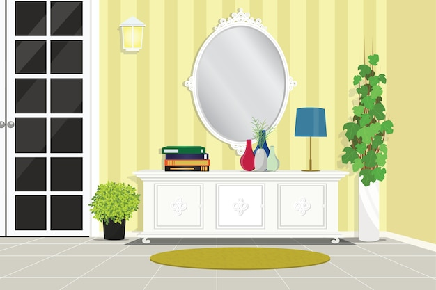 House foyer furniture with table and mirror vector illustration