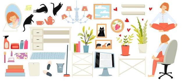 家の家具と居心地の良い家のオブジェクト