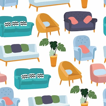 House furniture pattern seamless, background home, object decoration, sofa, arm chair and indoor,  illustration on white backround+