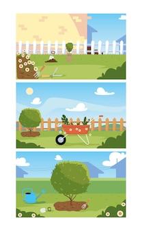 Дизайн набора садовых баннеров, садовые насаждения и природа