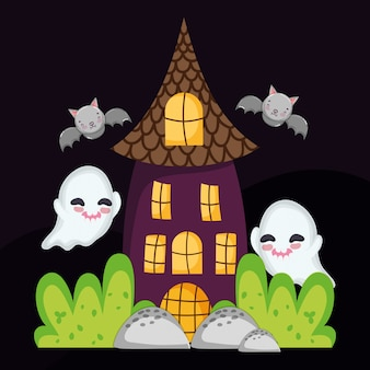 House ghost and bats flying halloween