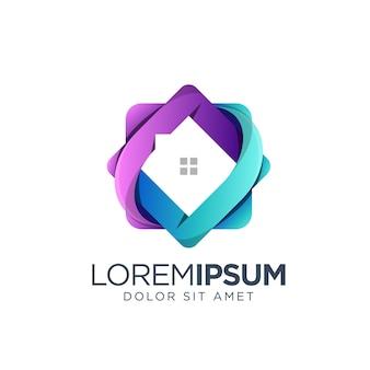 Дизайн логотипа дома градиент
