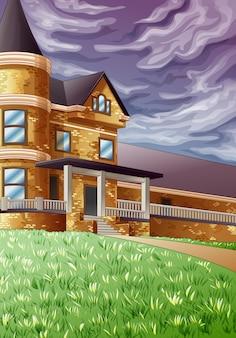 House in green garden and dark sky.