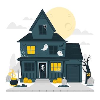 家のハロウィーンの装飾の概念図