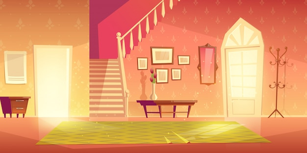 Дом прихожая интерьер с мебелью.