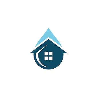 배관 로고 디자인을 위한 집 가정 및 물방울 아이콘