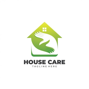 House home and care hand logo