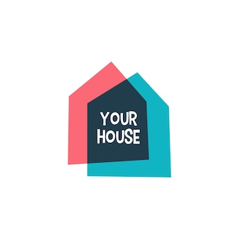 House home casa overlapping color logo template