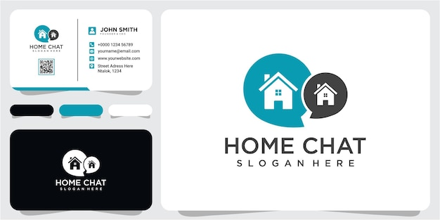 House home chat logo vector logos icon design. chat house icon logo design concept with business card template