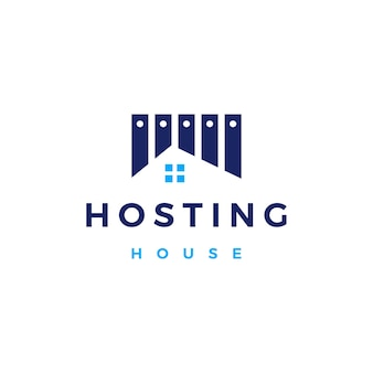 家の家のホスティングサーバークラウドデータストレージロゴベクトルアイコンイラスト
