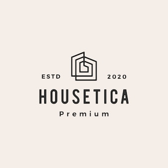 House home mortgage roof architect hipster vintage logo icon illustration