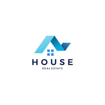 House home roof mortgage real estate ribbon logo