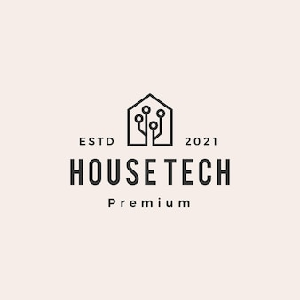 ハウスホームテクノロジーヒップスターヴィンテージロゴ