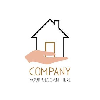 Значок дома с рукой вектор простой плоский символ. твердый линейный логотип дома