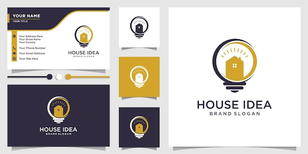 House idea logo with creative concept and business card design template premium vector