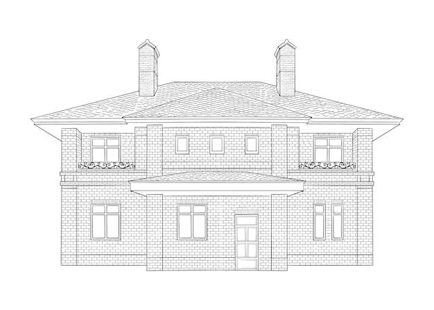 家のイラスト、黒と白のモノクロホームスケッチアート、手描き