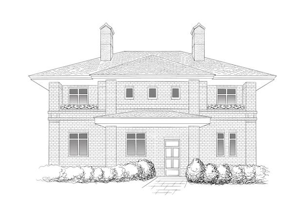 家のイラスト、黒と白のモノクロホームスケッチアート