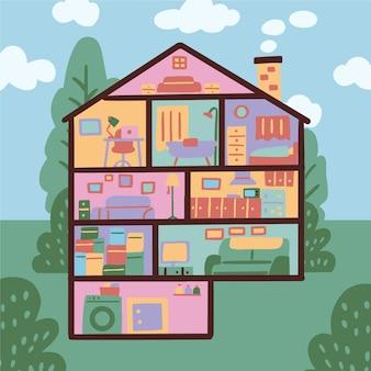 Иллюстрация дома в разрезе