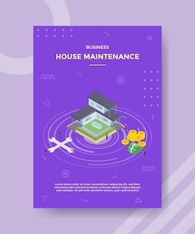 アイソメトリックスタイルのテンプレートバナーとチラシの家の改善またはメンテナンスの概念