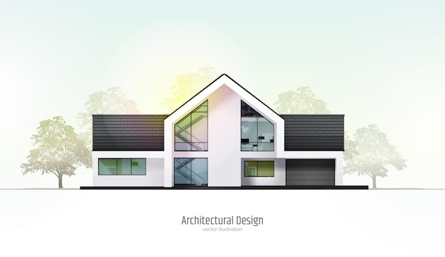 Дом в разрезе трехэтажный коттедж внутри с комнатами гараж и современный интерьер с мебелью.