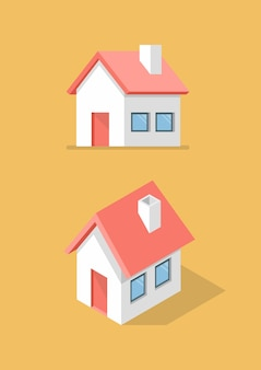 Дом спереди и изометрический значок. векторная иллюстрация