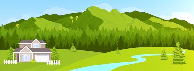 Дом в горах плоская цветная иллюстрация