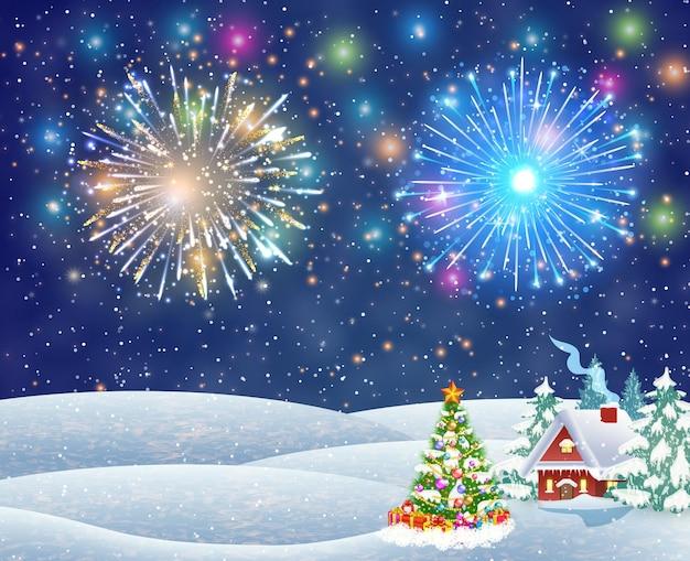 Дом в снежном рождественском пейзаже ночью
