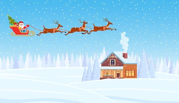 Дом в снежном рождественском пейзаже