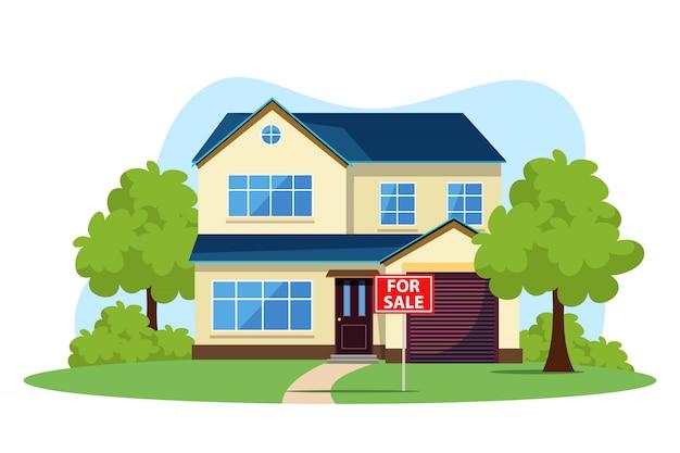 교외 또는 기숙사 지역의 주택 판매