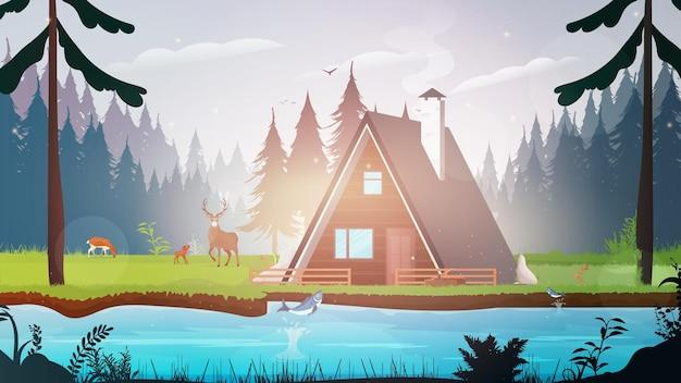 森の中の家。川のある森。