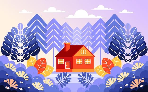 森の真ん中にある家