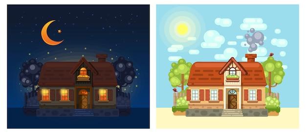 밤과 낮에 마을에있는 집. 플랫 만화 스타일로 그려진 마을 집. 세트