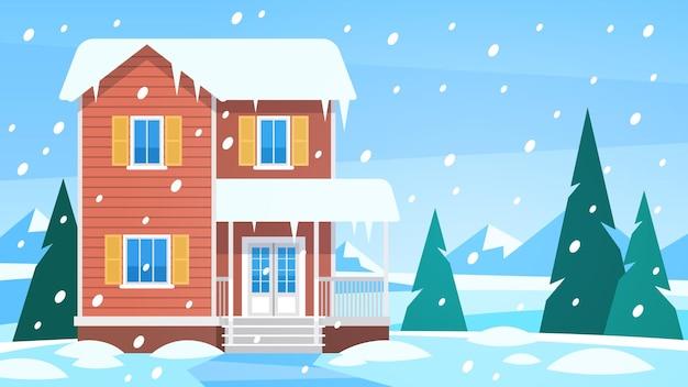 겨울에 집입니다. 시골의 눈 덮인 풍경에 있는 코티지, 나무와 언덕이 있는 눈 숲, 테라스 크리스마스 휴가 계절 벡터 배경이 있는 전면 전망 건물