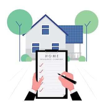 House insurance business feature a hand write the list on the contract