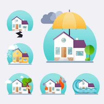 家保険ビジネスサービスアイコンテンプレート。財産保険。大きなセット住宅保険。保険の概念。