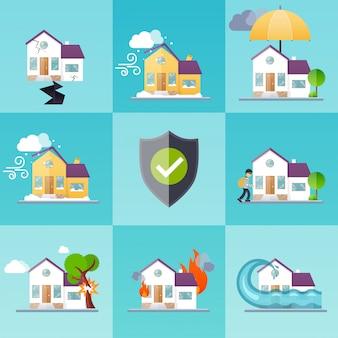 家保険ビジネスサービスアイコンテンプレート。財産保険。大きなセット住宅保険。保険の概念図。