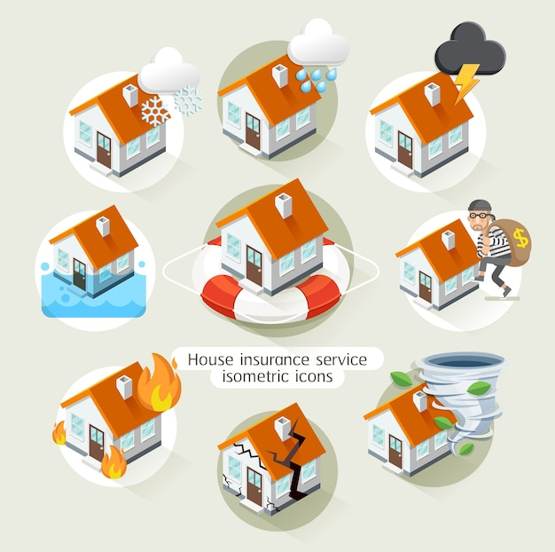 Дом страхование бизнес услуги изометрические иконы шаблон.