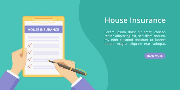 House insurance on clipboard with hands