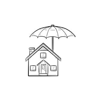 Страхование дома рисованной наброски каракули значок
