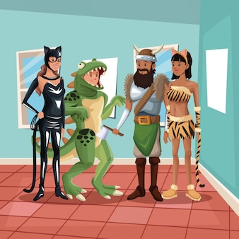 House interior background with people male and female in halloween costumes