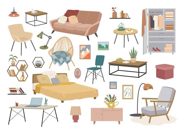Набор векторных иллюстраций мебели домашнего декора. мультяшное украшение для дома