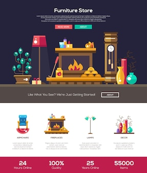 House interior and domestic furniture online store website template Premium Vector