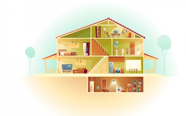 Интерьер дома в поперечном сечении с подвалом и мансардой