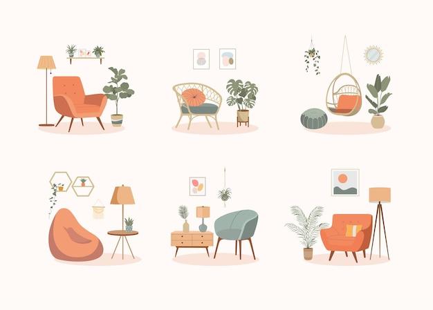 Изолированный набор предметов интерьера дома. мебель для дома. стулья и растения. векторные иллюстрации шаржа.